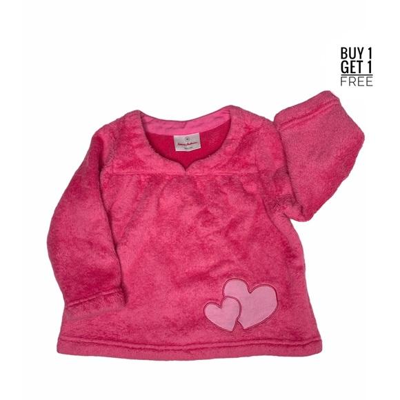 Hanna Andersson Girls Pink Fleece Heart Top 3T